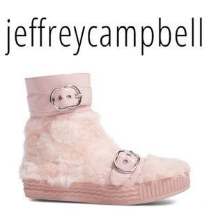 JEFFREY CAMPBELL VIVANT FAUX FUR BOOT BABY PINK